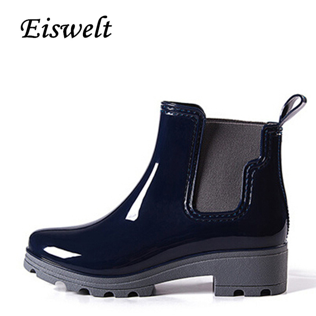 EISWELT Platform Rain Boots Ladies Patent Leather Ankle Boots Low Heels  Women Boots Slip Shoes Woman Plus Size 36-41 Shoes HDS25 d0d31d9b55