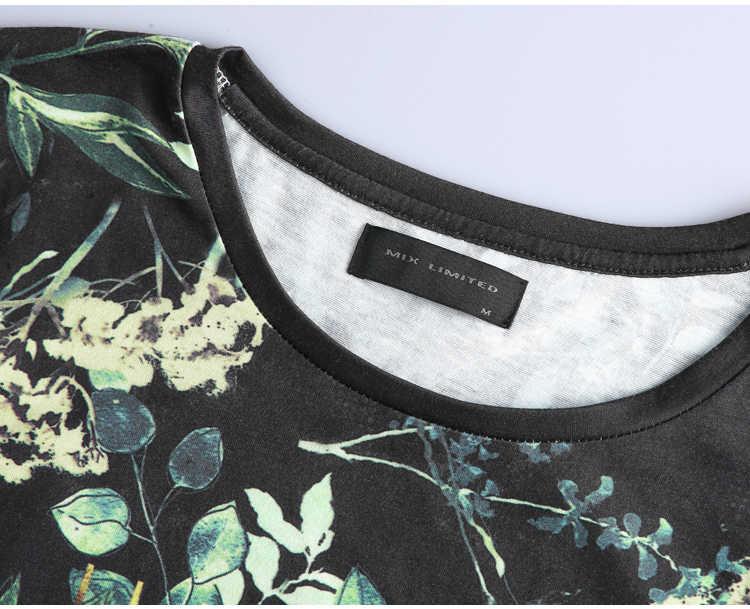 春夏新作ファッションメトロセクシャル男半袖花柄 tシャツスリムメンズ綿カジュアルヨーロッパスタイルの tシャツ