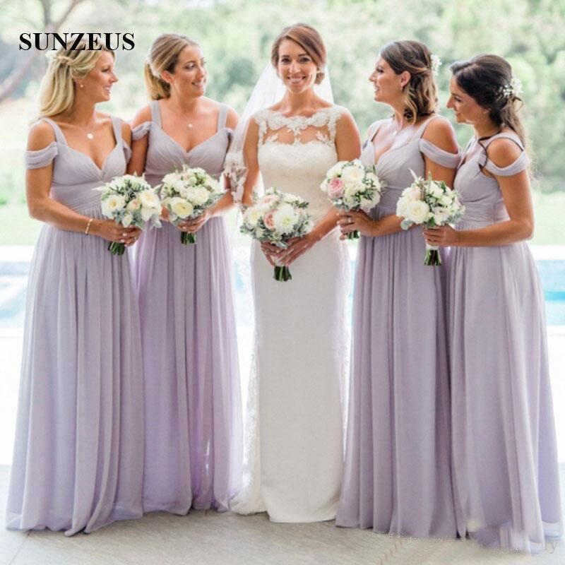 Empire violet clair robes de demoiselle d'honneur pour les mariages simples longues robes de fête d'invité en mousseline de soie femmes robe de demoiselle d'honneur - 2