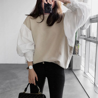 Sonnyour 2016 Autumn New Spring Clothes Round Neck Lantern Sleeve Shirt Women S Split Joint