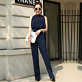 Vancol Long Pants Jumpsuits Sleeveless Elegant Sexy Open Back Pearl Pocket High Waist Brand Wide Leg Pants Ladies Summer Rompers