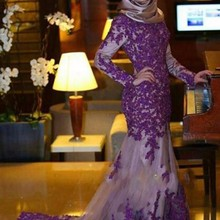 cecelle Purple Modest Mermaid Prom Dresses Long Sleeves