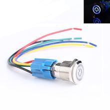 19 мм 12В Автомобильный синий светодиодный металлический кнопочный