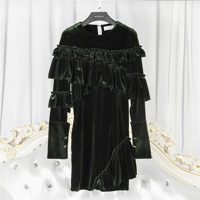 HIGH QUALITY Newest 2017 Designer Runway Dress Women's Long Sleeve Cascading Ruffles Velvet Dress
