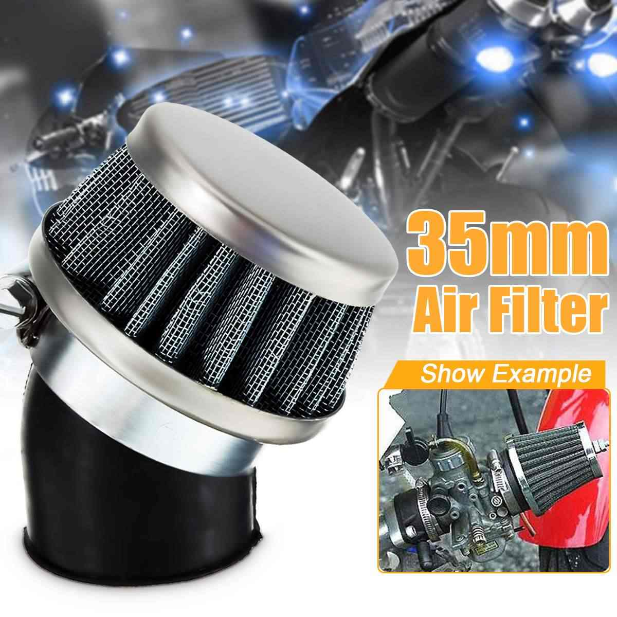 35mm Kasa Air Filter Bent Tabung 50-110CC Sepeda Motor Scooter ATV Quad Dirt Pit Sepeda
