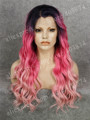 N6-C004  Dark Rooted Ombre Pink Color Mixed Bleach Blonde Color Water Wavy Texture Drag Queen Cosplay Synthetic Lace Front Wigs