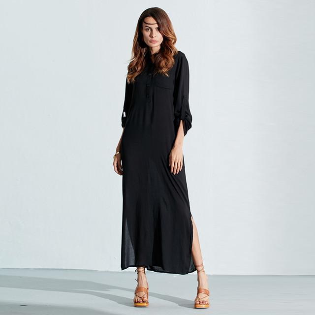 Zanzea Fashion Vestidos 2017 Autumn Women Sexy Casual Dress Long Sleeve Deep V Neck Linen Split Solid Long Maxi Dress
