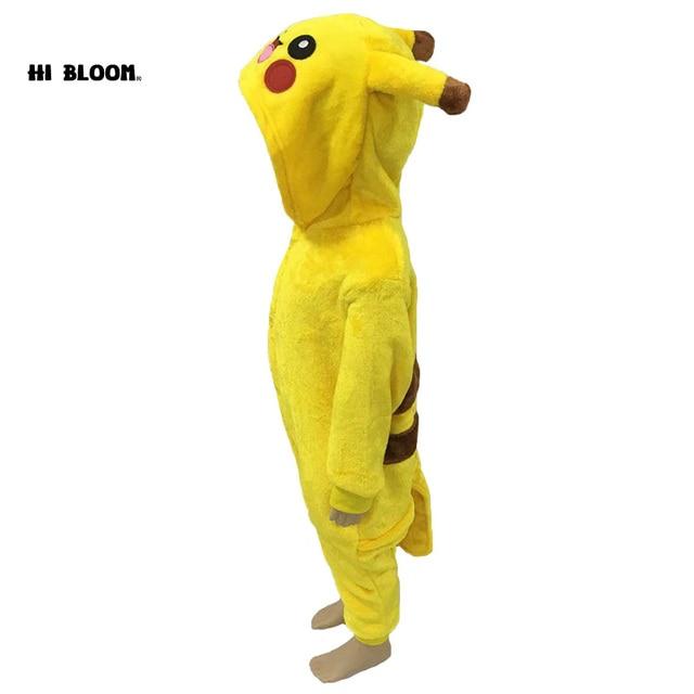 Crianças Pokemon Pikachu Macacão Romper das Crianças Vestes 100% Flanela Inverno Halloween Carnaval Natal Traje Crianças Macacão