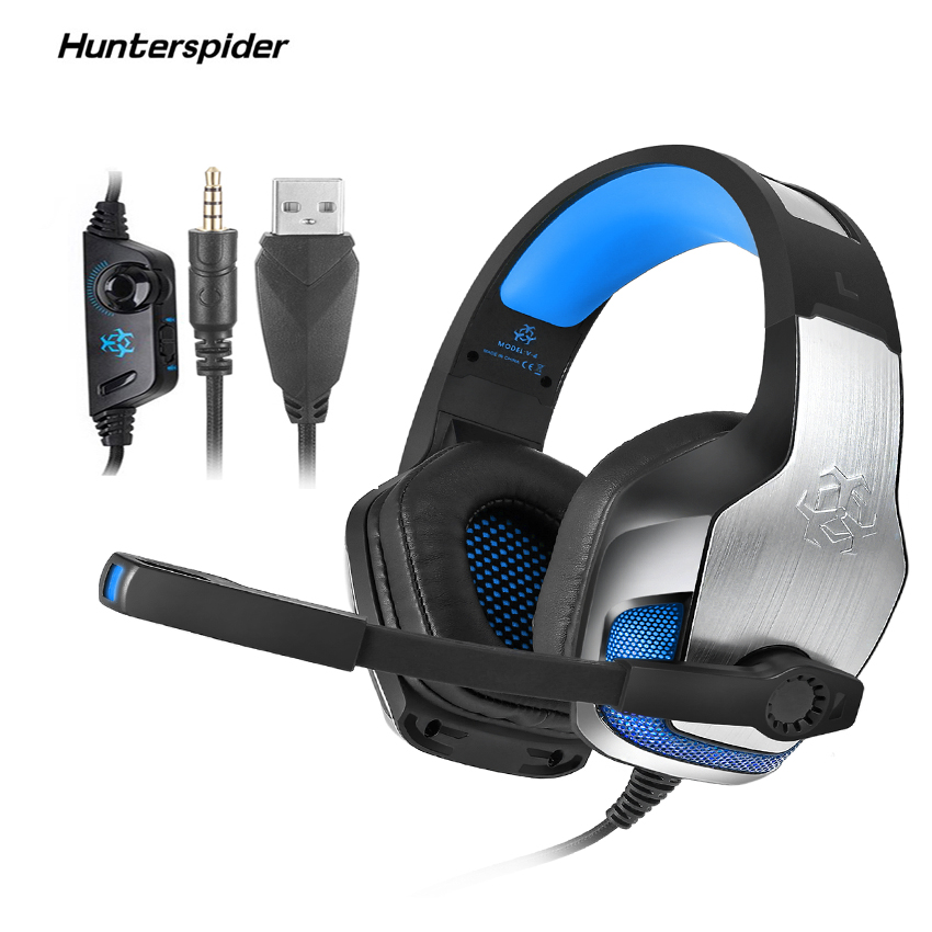 Hunterspider V4 casque Gaming Headset Over Ear Stereo Bass Surround Headphones with Mic for Xbox One/Laptop Tablet Switch Games