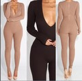 2016 Women New Fashion Sexy Skinny Jumpsuits Ladies Party Bodycon Bandage bodysuits Winter Style Club Vestidos Rompers W/Slashes
