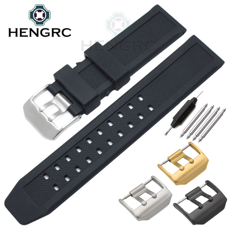 лучшая цена 23mm Rubber Watchbands Black Sport Waterproof Silicone Watch Strap Silver Black Metal Pin Buckle Watches Accessories