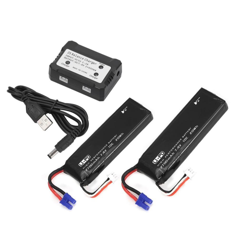 2 in 1 Balance Charger 7.4V 2700mAh 10C Li-po Battery for RC Drone Spare Parts for Hubsan H501S H501M H501A H501C RC Quadcopter hot sale hubsan h501s h501a x4 rc quadcopter spare parts transmitter h501s 15 for rc remote control quadcopter drone parts accs