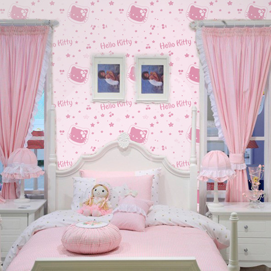 Pink Cartoon Hellokitty Cat Bedroom Wallpaper Child Real
