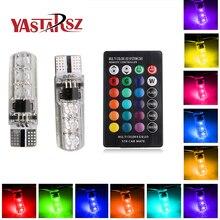2017 newest 2 PCS coluorful car led light t10 6 SMD 5050 RGB 16 Colors LED W5W automotive led bulb flash strobe fade smooth mode