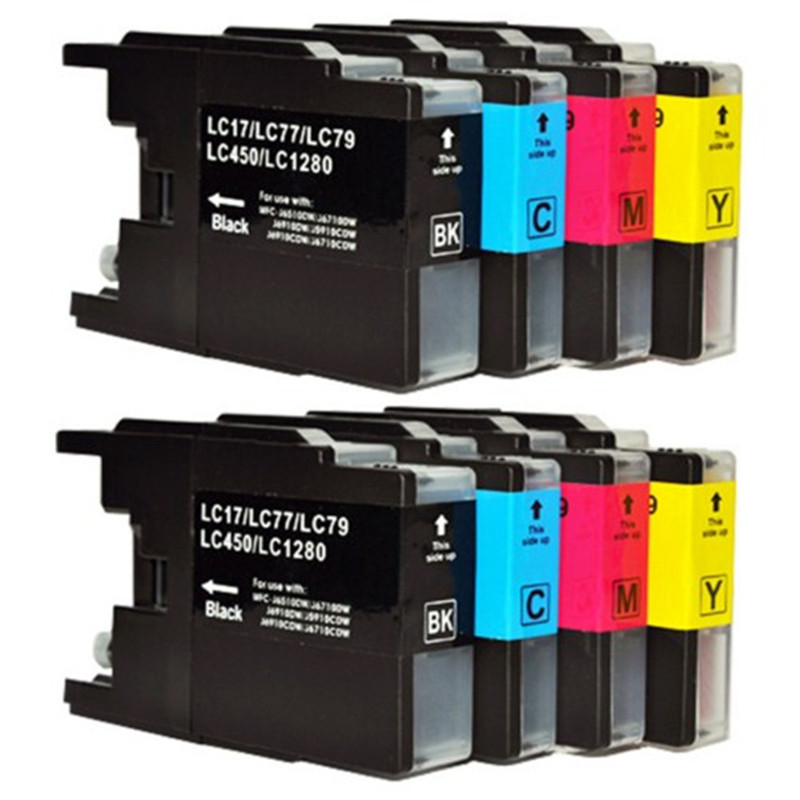 8PCS For Brother LC12 LC40 LC71 LC73 LC75 LC400 LC1220 LC1240 Ink Cartridge For Brother MFC-J6910CDW J6710CDW DCP-J525N