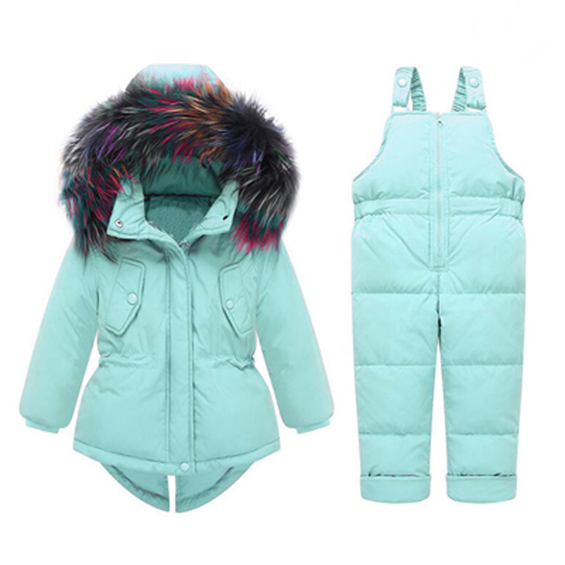 Toddler Girls Winter Clothing Sets For Children Polyester Jumpsuit Snow Jackets Bib Pants Kids Coats With