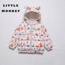 Kids Winter Jacket Long Sleeve Hood Clothes for Girls Zipper Hoodie Kid Down Baby Girl Snowsuits New 2019 Outfit