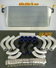 Radiador Turbo de aluminio para 600x300x76mm, tubo de entrada/salida de 3 pulgadas + 12 Uds. De tubos de silicona para ventiladores de manguera y aleta de montaje frontal, 600x300x76