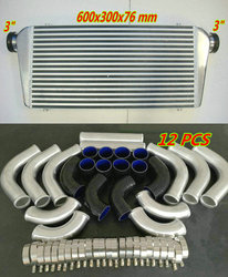 Aluminum Turbo Intercooler For 600x300x76mm In/Out 3