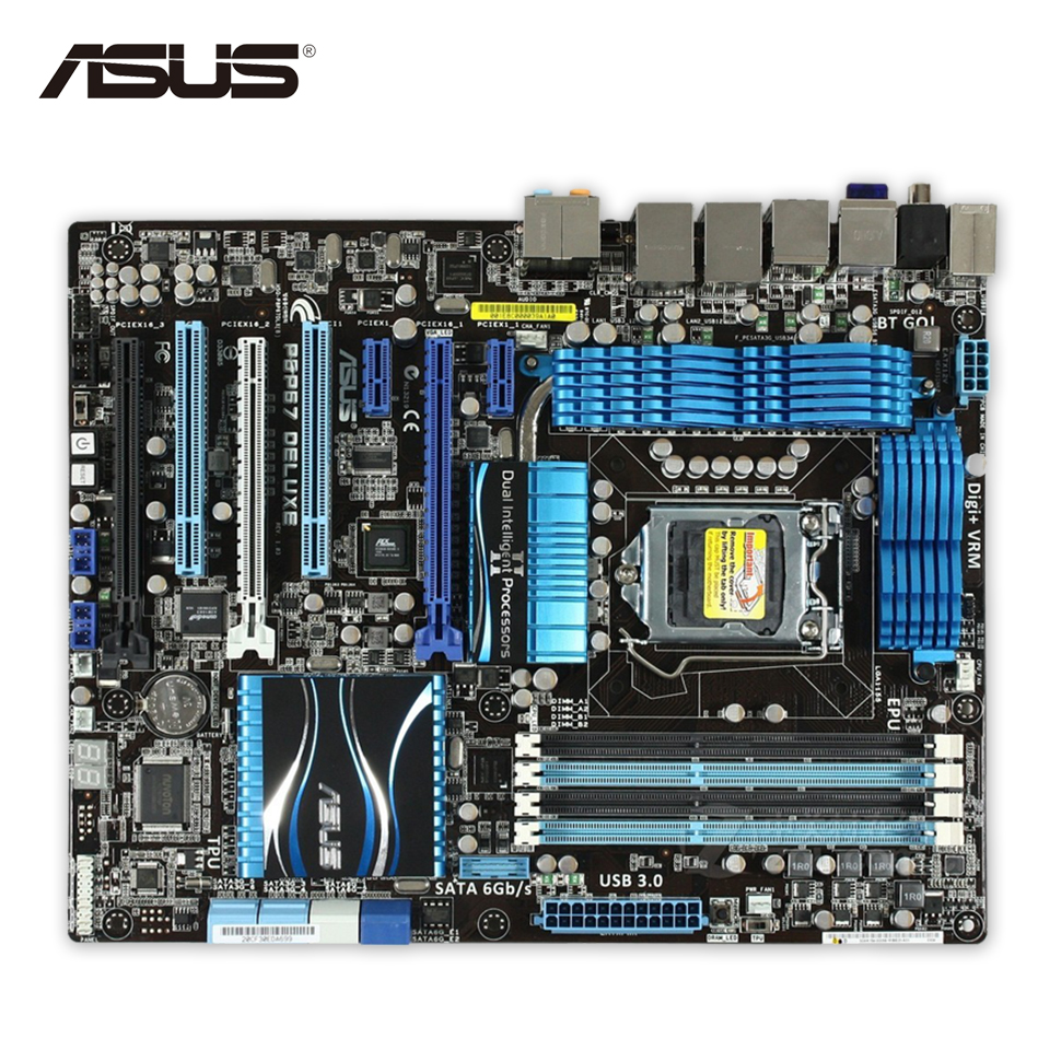 Original Motherboard For ASUS P8P67 Deluxe LGA 1155 DDR3 USB2.0 USB3.0 32GB P67 Desktop Motherboard