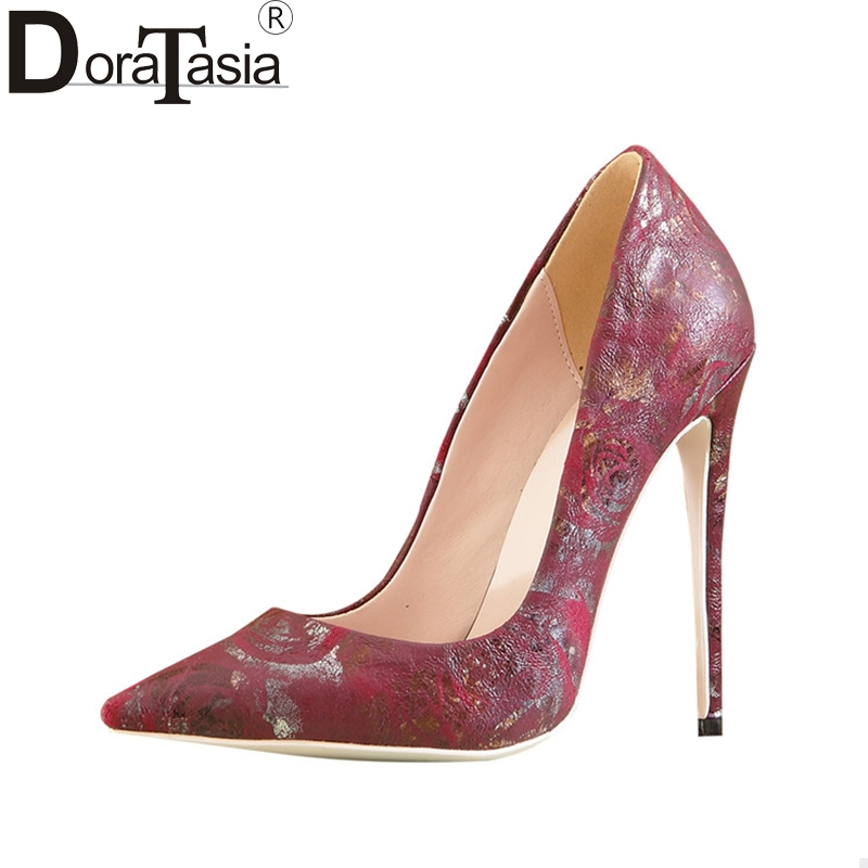 DoraTasia Sexy Women's Flower Printed Thin High Heels Pointed Toe Party Wedding Shoes Woman Slip On Pumps Big Size 33-43 gzx101206 fashion woman thin high heels pu pump lady plus big size sexy pointed toe shoes woman wedding shoes t strap 10cm 12cm