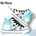 LEO Student Totoro Men Hand Painted Canvas Shoes Hi-Top Style Japanese Anime My Neighbor Totoro Cat Graffiti Shoes for Boys