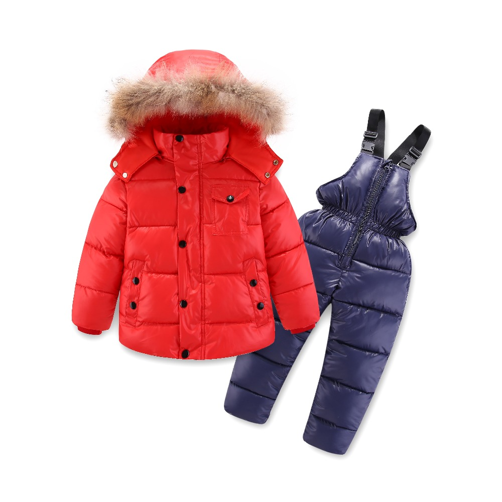 Children's Clothing Winter Boys Suit Ski Jacket -30 Degrees Russian Kids Ski Sports Down Cotton Coats Pants Warm Clothes Thicker children s clothing winter girl suit jacket 30 degree russian boys ski sports down jacket jumpsuit sets thicker overalls 11 11