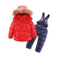 Children's Clothing Winter Boys Suit Ski Jacket 30 Degrees Russian Kids Ski Sports Down Cotton Coats Pants Warm Clothes Thicker