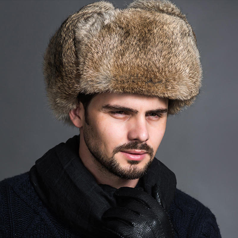 Faroonee Bomber Hats Caps Earflap Ear-Warmer Winter Brown Male Black Solid Fur Men Thicken title=