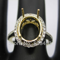 Solid 14k yellow gold 8x10 mm oval cut natural diamond semi mount ring
