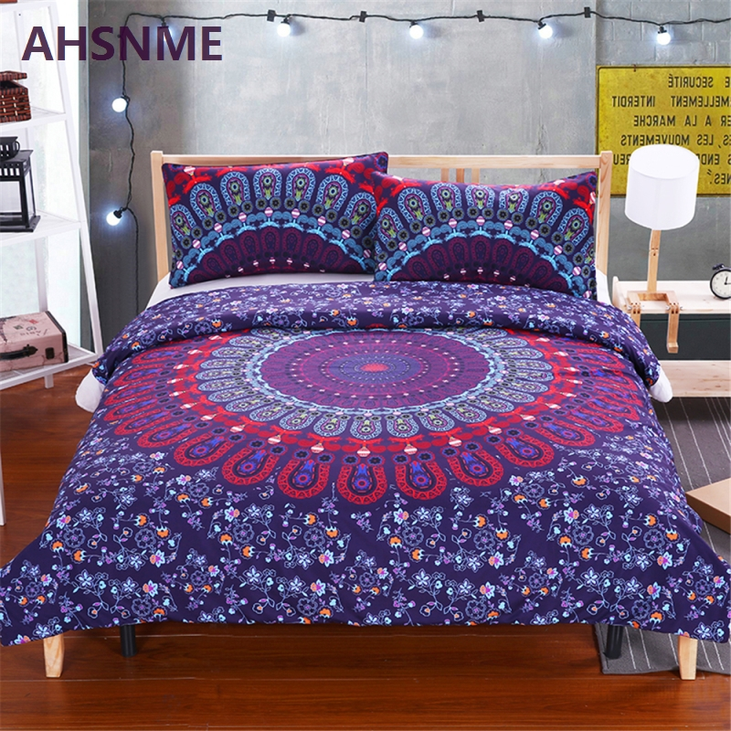 AHSNME Red Blue Bohemian Round Totem Bedding Suite Quilt Cover Pillow Home Textiles USA Australia SizeAHSNME Red Blue Bohemian Round Totem Bedding Suite Quilt Cover Pillow Home Textiles USA Australia Size