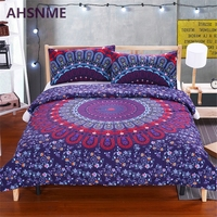 AHSNME Red Blue Bohemian Round Totem Bedding Suite Quilt Cover Pillow Home Textiles USA Australia Size