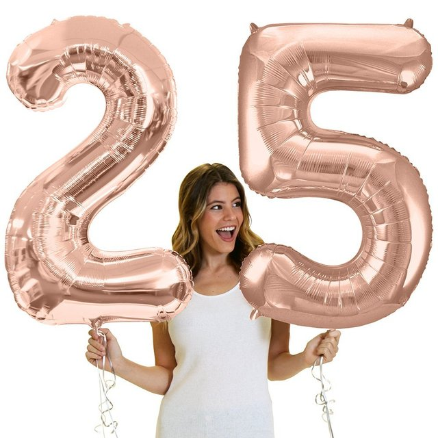 2pcs Giant Rose Gold 25th Birthday Helium Quality Foil Mylar Balloons Number 25 Decorations Supplies Balon