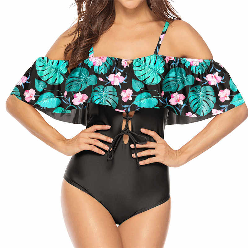 New 2019 Ruffle Large Size Swimsuit One-Piece Suit 1 Female Plus Monokini Floral Print Badpak Strapless Big Fat Swiming XL XXXL