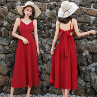 New Summer Dress Women Jurken Maxi Long Spaghetti Strap Sexy Dress Sleeveless Red Women Beach Dress Ladies Backless Dress C5239