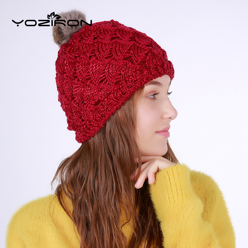 YOZIRON Warm Female Knitted Fan-Shape Rabbit Pompom Beanies Winter Hats For Women Ladies Adults Casual Wool Skullies Caps 2016 new beautiful colorful ball warm winter beanies women caps casual sweet knitted hats for women outdoor travel free shipping