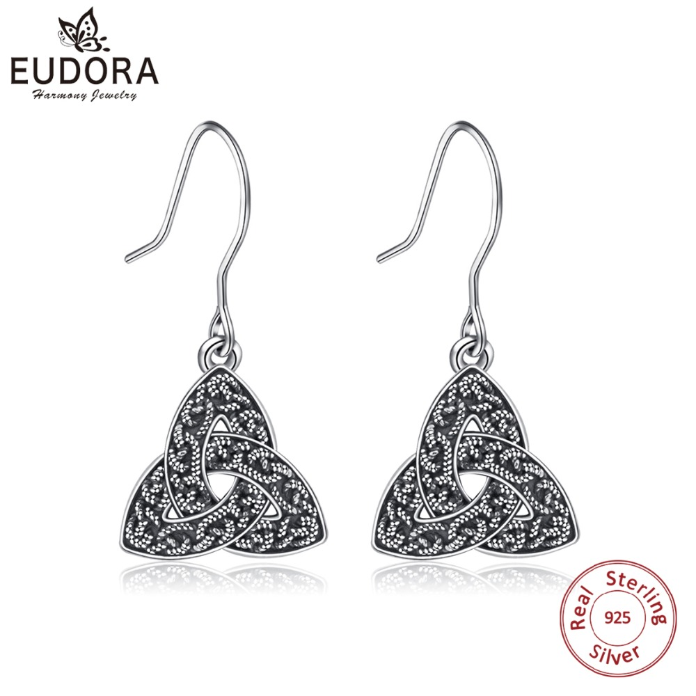 EUDORA Real 925 Sterling Silver Triquetra Celtics Trinity Knot Drop Earring Fashion Dangle Earrings for Women Fine Jewelry CYE76