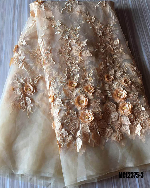 Champagne Gold Tulle Lace Fabric 3d Flower High Quality