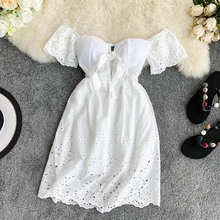 New Sexy Strapless White Dress V-neck Padded Stretchy Back Women Summer Off-shoulder Fairy Mini Vestidos hollow lace back