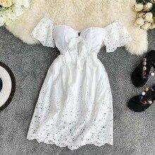 New Sexy Strapless White Dress V-neck Padded Stretchy Back Women Summer Off-shou