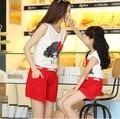 Лето стиль babymmclothes мама и дочь комплект семья взгляд девочка и мать одежда комплект t - рубашка + шорты причинно спорт костюм
