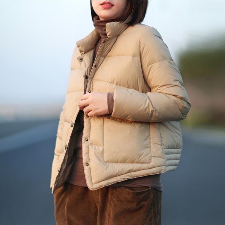 Duck   down     coats   female stand collar light 90%   down     coat   autumn winter single breasted warm bread style fluffy   down     coat   wq 2477