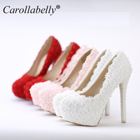 Women Fashion Sweet White Red Flower Lace Platform High Heels Pearls Rhinestone Wedding Shoes Bride Dress