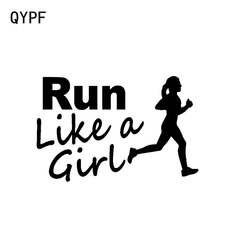 QYPF 14.3*9.3CM Funny Run Like A Girl Runner Running Marathon Decor Car Sticker Silhouette Vinyl C16-0766