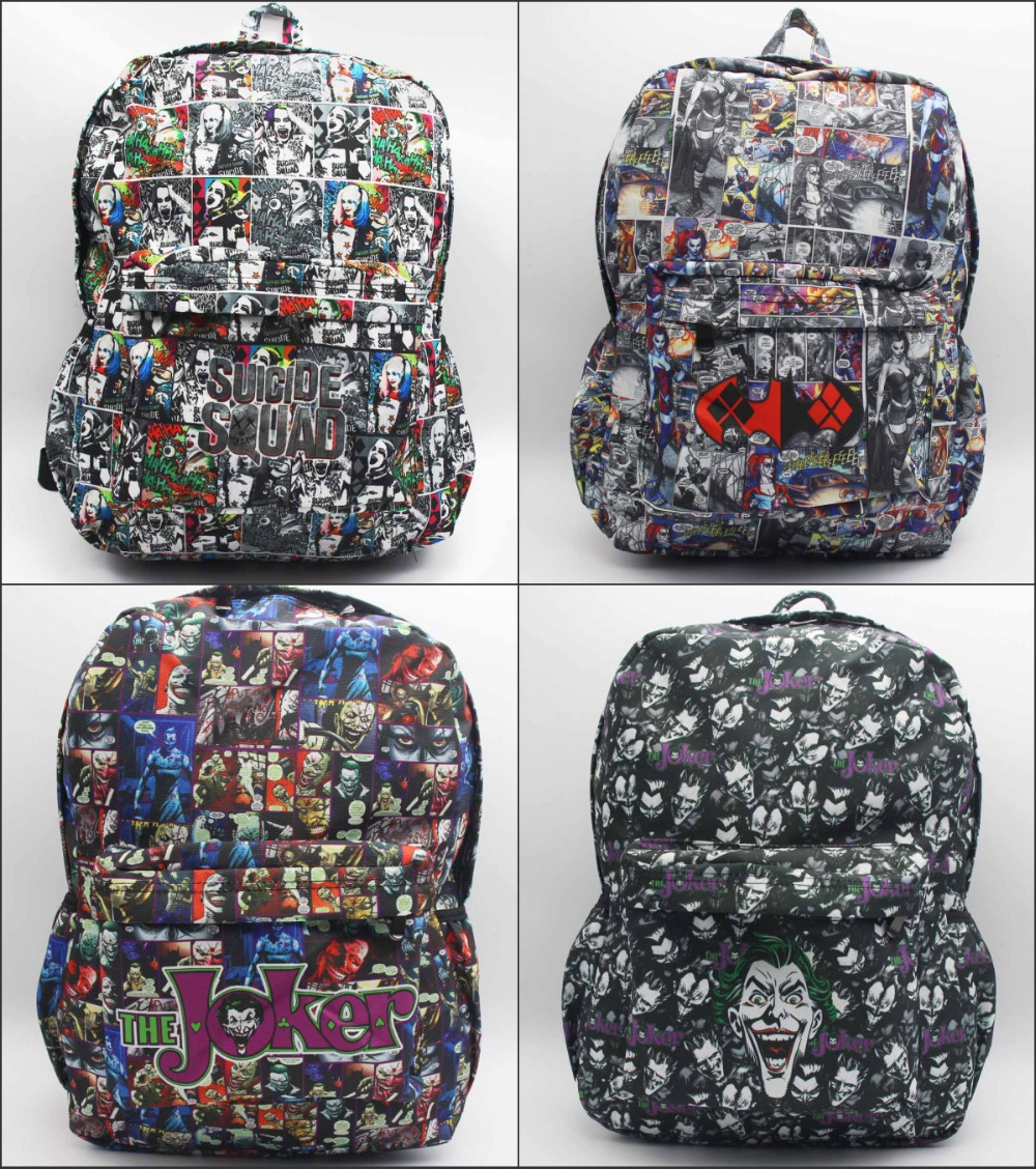 DC Comics Batman Suicide Squad Harley Quinn Joker Backpack student book bag Teenagers canvas Shoulder Bag 5 style suicide squad vol 5 apokolips now