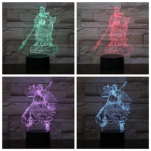 Guan Yu LED Night Light Guangong Touch Sensor RGB Decorative Lamp Child Kids Chinese culture Gong Desk lamp bedside Decor