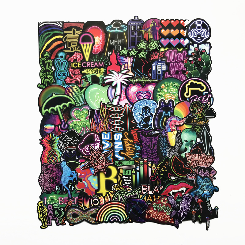 75PCS Personality Neon Colorful Cartoon Harajuku Style Sticker Computer Mobile Shell Guitar Decoration Waterproof Stickers in Stickers from Toys Hobbies