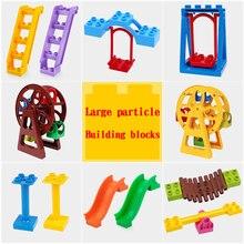 Large particles Diy building blocks bricks Scene accessories Door window Slide Compatible large paticle Duploes Toys for kids