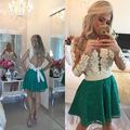 Sexy See Through Pearls Lace Short Cocktail Dresses 2016 Long Sleeve Homecoming Party Dress Robe De Cocktail Vestidos Coctel