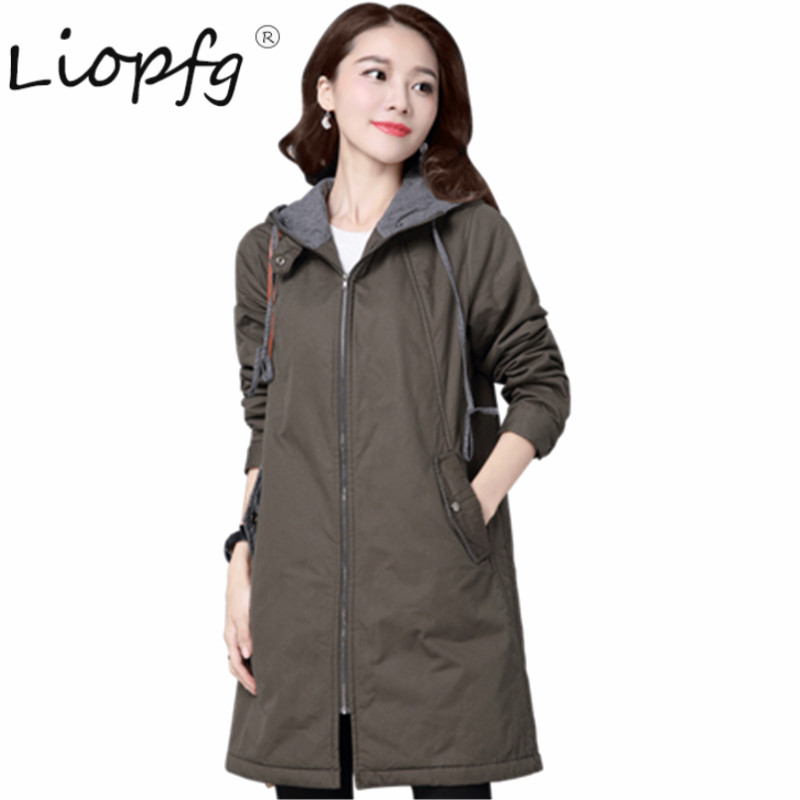 2017 Cotton long winter casual middle-aged loose large size hooded Lady coat autumn and winter ladies jacket BP3502 2017 ukraine exclusive custom winter coat magic cloth dolls and original sweet bunny ears hooded casual loose lovely cotton